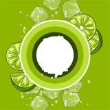 Background with limes. Ice cubes and soda bubbles. Fresh healthy juice. Delicious flavored cold drink. Green stylized citrus fruits whole and slices vector illustration