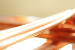 Background line of copper pipes Stock Photo