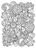 Background with line flowers for adult coloring Royalty Free Stock Images