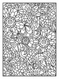 Background with line flowers for adult coloring Royalty Free Stock Image