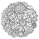 Background with line flowers for adult coloring Royalty Free Stock Photography