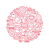 Background With Line Icons of Food Like Sausage, Cake, Donut, Croissant, Bacon, Muffins, Coffee, Salad etc. Stock Photography