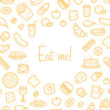 Background With Line Icons of Food Like Sausage, Cake, Donut, Croissant, Bacon Royalty Free Stock Image