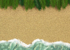 Background with a line of sea water with palm trees  and sand Royalty Free Stock Photography