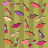 Background with lips and lipsticks. And strips Royalty Free Stock Images