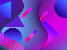 Background with liquid shape and geometric objects in the style 1980s. Gradient texture. Violet color. Vector. Illustration royalty free illustration