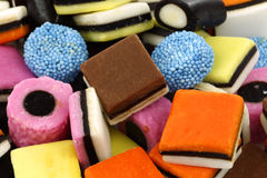 Background of liquorice all sorts. Background of sweet, tasty and colorful liquorice all sorts Royalty Free Stock Images