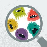 Background with little angry viruses and magnifier Stock Photos
