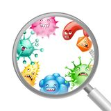 Background with little angry viruses. Background with little angry viruses, microbes and monsters vector illustration