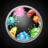 Background with little angry viruses. Background with little angry viruses, microbes and monsters stock illustration