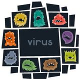 Background with little angry viruses and monsters Stock Photography