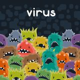 Background with little angry viruses and monsters Stock Image