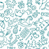 Background for little boys and girls. Hand drawn children drawin Stock Image