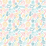 Background for little boys and girls in sketch style. Doodle chi. Ldren drawing background. Hand drawn children drawings color seamless pattern. Vector Stock Photography