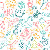 Background for little boys and girls in sketch style. Hand drawn. Children drawings color seamless pattern. Doodle children drawing background. Vector Royalty Free Stock Photos