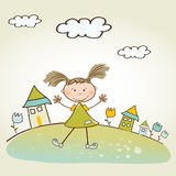 Background with little girl Stock Image