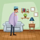 Background living room home with cold sickness people. Vector illustration Stock Image