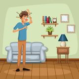 Background living room home with dizziness and vomiting sickness people. Vector illustration Stock Photography
