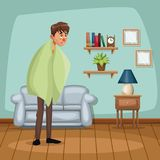 Background living room home with fever sickness people. Vector illustration Stock Image