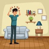 Background living room home with headache sickness people. Vector illustration Royalty Free Stock Images