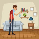Background living room home with sickness people. Vector illustration Royalty Free Stock Photos