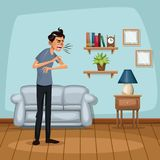 Background living room home with sneeze sickness people. Vector illustration Stock Photo