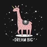 Background, llama, stars and english tex. Dream big. Background, llama are unicorn, english text. Dream big, cute poster design. Backdrop vector with lettering vector illustration