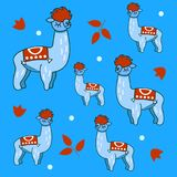 Background with llama. Seamless pattern with Alpaca. Cartoon character llama, llama. Baby background, paper wrapper, print, textile, fabric Vector illustration Stock Photography