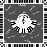 Background logo for the presentation of musical store. advertising design in style of music for presentation. Background logo for the presentation of musical Royalty Free Stock Image
