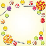 Background with candies frame Stock Photos