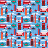Background with London landmarks and Britain symbols. Seamless pattern background with London landmarks and Britain symbols illustration vector illustration