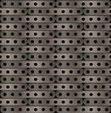 Background of long plates with holes in steampunk Stock Image