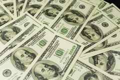 Background of a lot of banknotes of money cash 100 dollars stock image