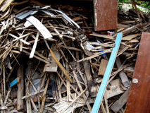 Background of a lot of construction debris, laths Royalty Free Stock Photo