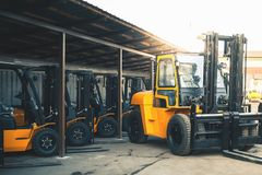 Background of a lot of forklifts, reliable heavy loader, truck Stock Images
