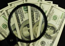 Background of a lot of money banknotes of 100 dollars stock image