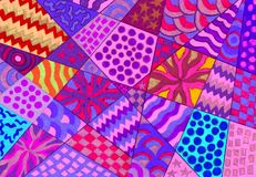 Many sorts of patterns. A background of lots of diverse types of colored patterns and shapes Stock Image