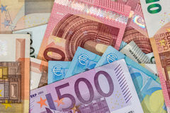 Background of lots mixed euro Royalty Free Stock Image