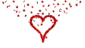 Background from lots of red stars making one big heart Royalty Free Stock Photography