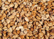 Background with lots of toasted peanuts and covered with cooked. Background with lots of brown toasted peanuts and covered with cooked sugar for sale Royalty Free Stock Photography