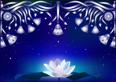 Background with lotus, decorative pattern and starry sky Royalty Free Stock Images