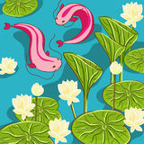 Background with lotus and fish. Vector background with lotus and fish Stock Photo