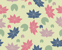 Background with lotus flowers and leaves. Vector seamless pattern Stock Photos