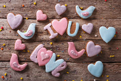 Background of love gingerbread cookies. horizontal top view Royalty Free Stock Photos