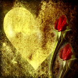 Background of love, heart and red rosebuds Stock Photos