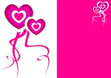 Background with love hearts for valentine's day. Pink and white Stock Images