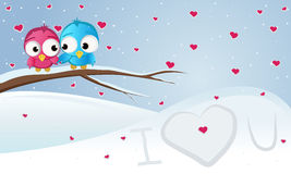 Background, love, winter. Winter background with a painted heart vector illustration