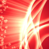 Background of luminous. Abstract romantic background of luminous lines with rays of light in the form of heart Royalty Free Stock Images