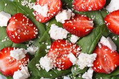 Background macro salad of strawberry , spinach, goat cheese Royalty Free Stock Images