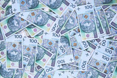 Background made of 100 pln banknotes Stock Photo